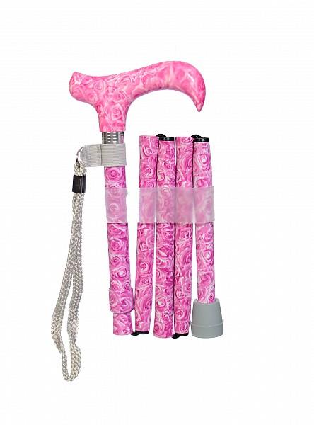 Vycházková hůl skládací Pink Roses