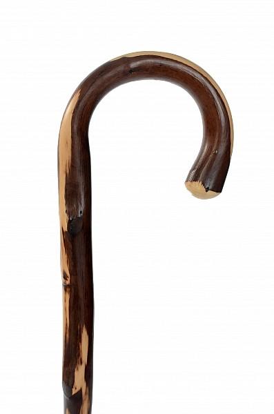 Vycházková hůl dřevěná pánská kaštan s gumovou koncovkou