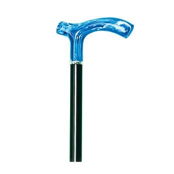 Vycházková hůl dřevěná s modrou rukojetí