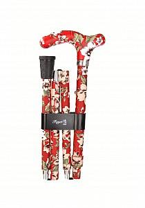 Vycházková hůl skládací Fayet Rouge fleurs