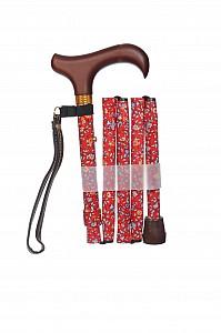 Vycházková hůl skládací Red Floral