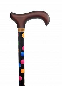 Vycházková hůl s nastavitelnou délkou s puntíky