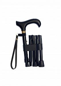 Vycházková hůl skládací krátká Black